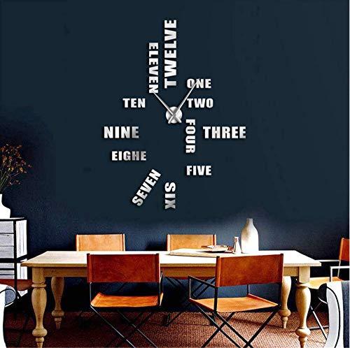 Engels Letter Nummer Grote Wandklok Modern Design DIY Wandhorloge Home Decoratie Accessoires Frameless Giant Wandklok