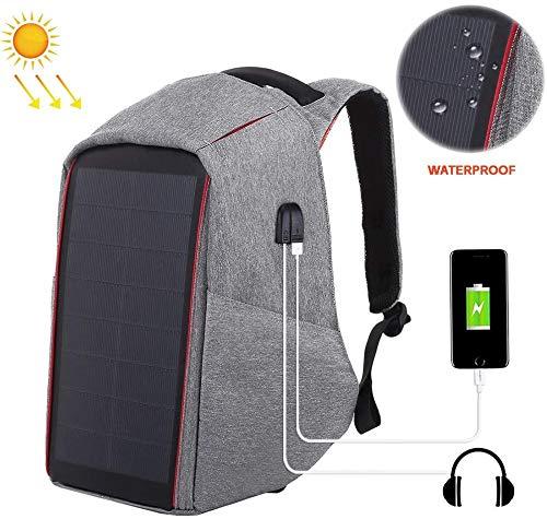 12W Flexibele zonnepaneel energie Backpack Anti-diefstal tas met handvat en 5V / 2.1A Max Dual USB-poort opladen Geschikte,Gray