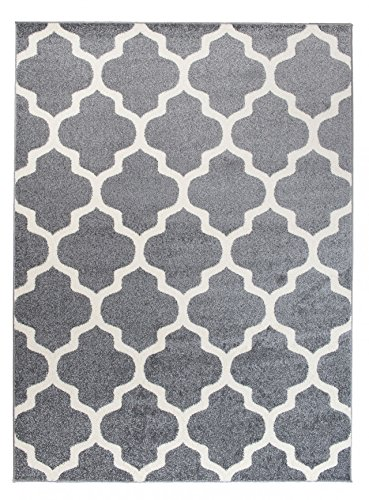 Carpeto Area Rug Modern Moroccan Grey Carpet 2' x 3'3'' ft - 60 x 100 cm Furuvik Collection/Indoor use only