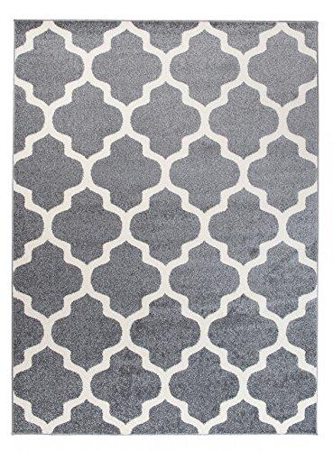 We Love Rugs - Carpeto Orientalisches Marokkanisches Teppich - Flor Modern Designer Muster - Wohnzimmer Schlafzimmer Esszimmer - Hell Grau Weiß - 80 x 150 cm