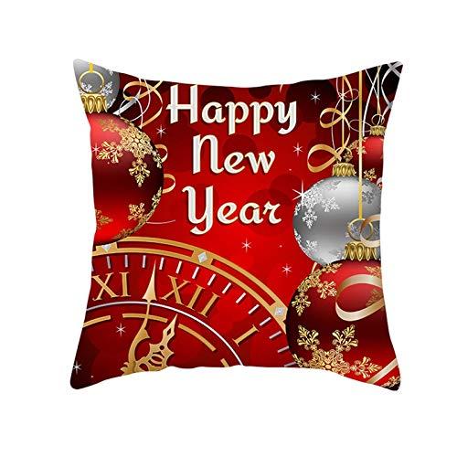 Beydodo Fundas Grandes Cojin Navidad,1 Pieza de Fundas de Cojines Fundas Cojines 50X50 Cuadros,Bolas de Decoración de Navidad Copos de Nieve y Reloj Rojo Oro Plata