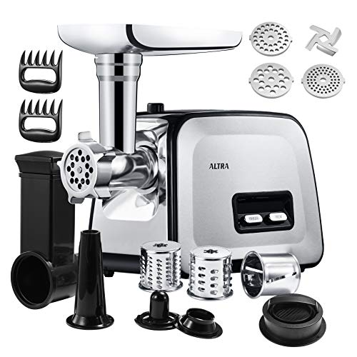 Electric Meat Grinder, Altra 3-IN-1 Meat Mincer& Food Grinder& Sausage Stuffer with 3Lb High Capacity Meat Tray, Concealed Storage Box, Sausage& Kubbe Kit, 3 S/S Plates, 2 Blades, 350W Heavy Duty