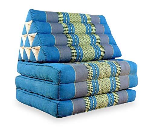 livasia Thaikissen mit 3 Auflagen, Kapok Dreieckskissen, Sitzkissen, Liegematte, Thaimatte (hellblau)