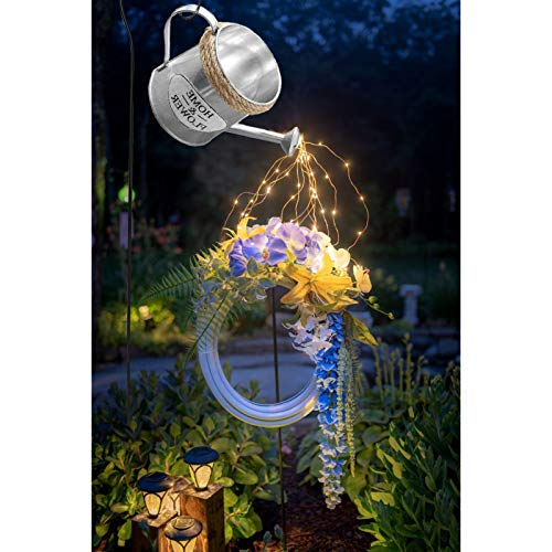 Outdoor Garden Watering Can Lamp LED String Light Outdoor, Star Shower Garden Lights, Starry Fairy Night Light, Romantic Decorative Lights, Garden Ornaments for Yard, Garden, Path CHAOEN (Silver-A)