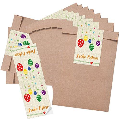 25 große braune Papiertüten Ostertüten 16,2 x 23 cm + 10 lange Osteraufkleber 7,2 x 21 cm BUNTE OSTEREIER gelb grün rot blau Frohe Ostern Geschenk Verpackung Mitgebsel give-aways Kinder