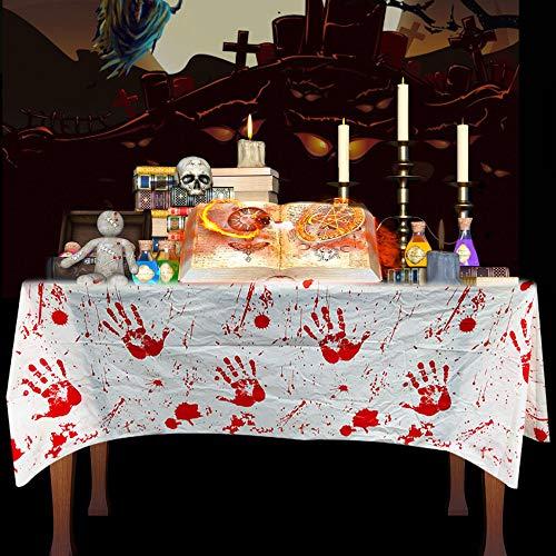 CODIRATO 2 Stück 130 x 260cm Blutige Tischdecke Halloween Tischtuch Gruselige Halloween Handabdrücken Blut Tischdecke für Halloween Party Haus Spukhaus Dekoration