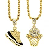 Mens Gold Plated HipHop Retro 11'Concord' & Cz Basketball Pendant 4mm 24' Rope Chain