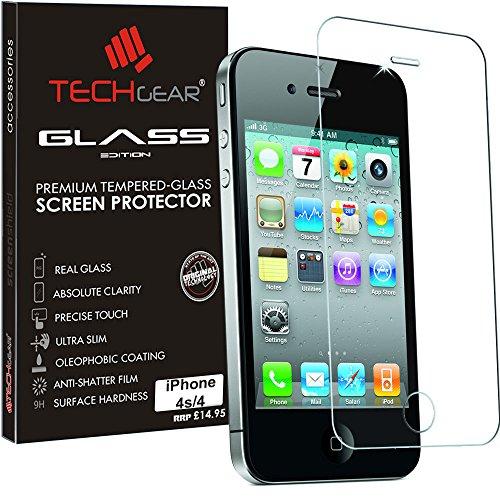 TECHGEAR Panzerglas für iPhone 4s, iPhone 4 - Panzerglasfolie Anti-Kratzer Schutzabdeckung kompatibel mit iPhone 4s, iPhone 4