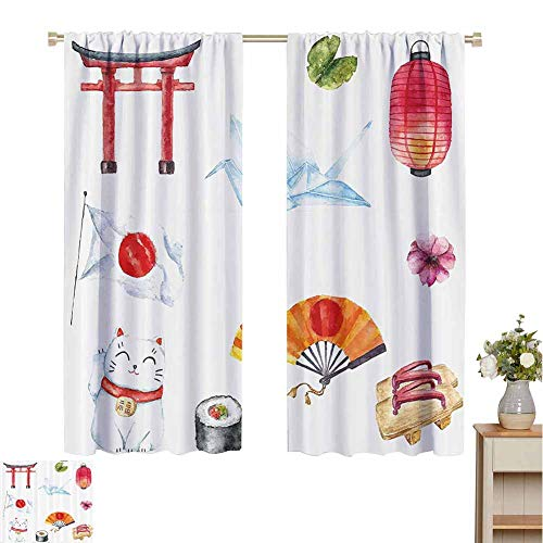 """Price comparison product image Petpany Blackout Curtains Japanese, Hand Drawn Traditional Elements Watercolors Torii Gate Origami Bird Flag Lacky Cat, Multicolor, for Bedroom, Nursery, Living Room 120"""" W x 96"""" L"""