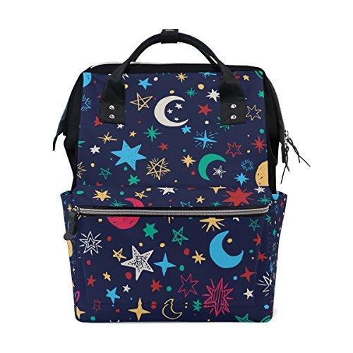 Bennigiry coloré étoiles Lune Sac à langer à Sac à dos Grande capacité de voyage à dos multifonctions Organiseur de sacs à couches bébé Sacs pour Mom