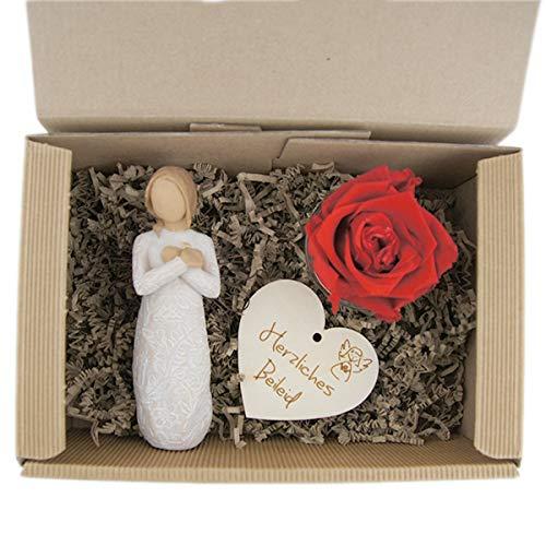 Geschenkset 3-teilig/Trauer/Beileid/Willow Tree Figur/Long Life Rose/Holzherz mit Gravur