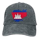 Ejdkdo Men's/Women's Adjustable Denim Jeans Baseball Cap Cambodia Map Flag Trucker Cap Fashion15