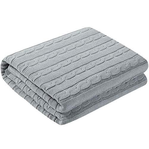 YeVhear - Colcha de punto de cable de algodón suave para sofá cama de color gris (47 x 70 pulgadas)