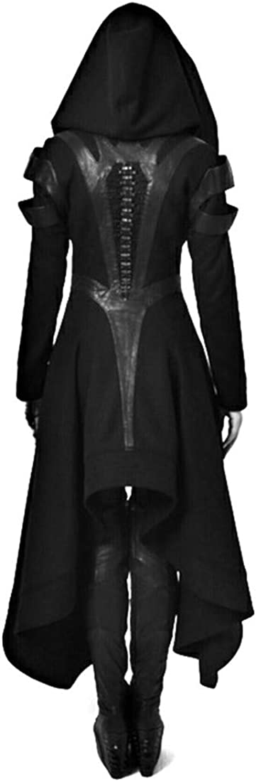 Momo Womens Zip Up Asymmetric Hem Hooded Trench Coat Steampunk Vintage Gothic Jacket