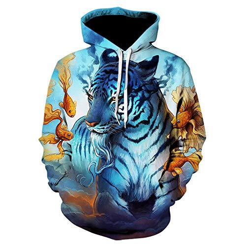 3D Sweater Tiger Hoodie Männer 3D Sweatshirts Pullover Animal Print Hoodies Sweatshirt Hoodie Männer Langarm,L