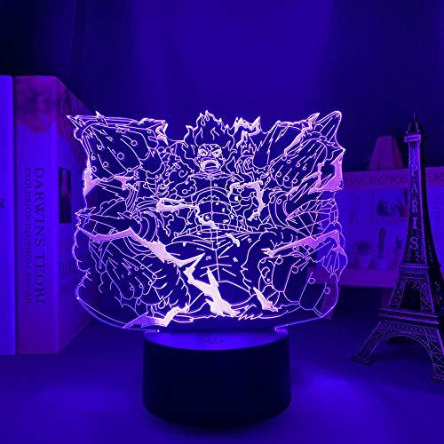 Luzes noturnas 3D para meninos e meninas ilusão LED Anime One Piece Monkey D Luffy Future Surpassing LED Night Light para decoração de quarto de crianças HOICHAN