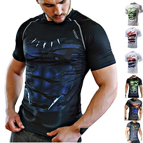 Khroom T-Shirt de Compression de Super-héros pour Homme | Vêtement Sportif à Séchage Rapide pour Fitness, Gym, Course, Musculation | Matériel Extensible et Ventilé Anti Transpiration | Black Panther