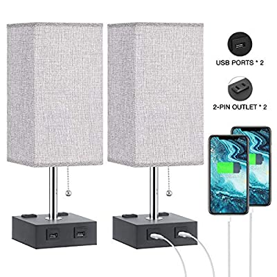 USB Table Lamp with Outlet, Aooshine USB Bedside Lamp with Dual 2-PIN Outlet, Perfect USB Bedside Lamp for Bedroom, Set of USB Nightstand Lamp for Living Room with Gray Square Fabric Shade(2 Pack)