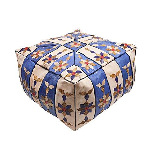 Puff de cuero de forma cuadrada, mide 42 x42 x28 cm aproximadamente. modelo marroquí, egipcio hecho a mano