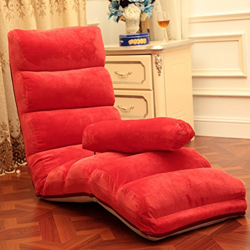 Pliable Chaise de plancher,Individuel Style japonais Divan-lits,Imperméable Canapé pliant,Réglable Canapé paresseux,Chaise de dossier Mini canapé Une lecture parfaite et regarder coussin tv-rouge