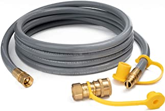 GASPRO 12FT Natural Gas Hose with Quick Connect Fittings, 3/8 Inch Propane/Natural Gas Quick Disconnect Kit Extension Hose Assembly for Low Pressure Appliance, CSA Certified