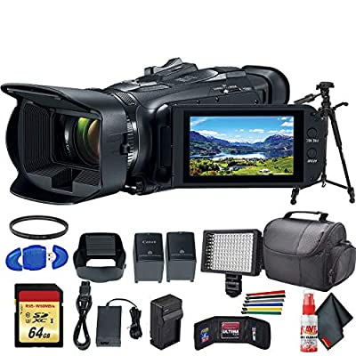 Canon Vixia HF G50 UHD 4K Camcorder (Black) (3667C002) with Extra Battery, UV Filter, Tripod, Padded Case, LED Light, 64GB Memory Card and More Starter Bundle by Canon