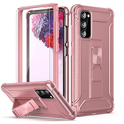 ORETECH Funda para Samsung Galaxy S20 FE, con [2x Protector de Pantalla de Vidrio Cristal Templado]360° Antigolpes con Built-in Soporte Carcasa Suave Silicona TPU PC Caso para Samsung S20 FE-Oro rosa