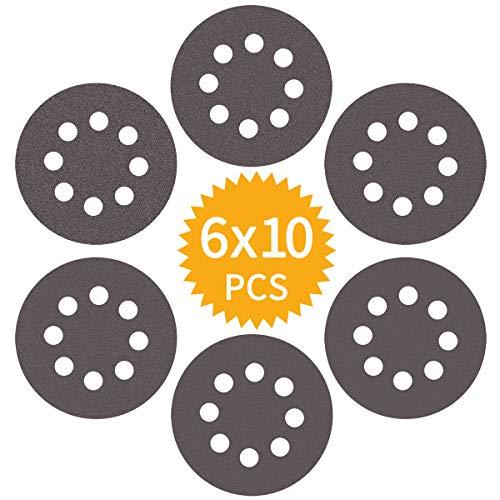 Akuoly Schleifpapier Set 125mm Schleifscheiben Nass und Trocken Sandpapier P400 P600 P800 P1000 P1500 P2000 für Exzenterschleifer, 8 Loch, 60 Scheiben
