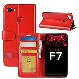 HualuBro Oppo F7 Hülle, Retro PU Leder Leather Wallet HandyHülle Tasche Schutzhülle Flip Hülle Cover mit Karten Slot für Oppo F7 Smartphone - Rot