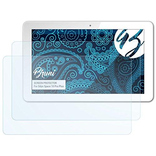 Bruni Schutzfolie kompatibel mit Odys Space 10 Pro Plus Folie, glasklare Bildschirmschutzfolie (2X)