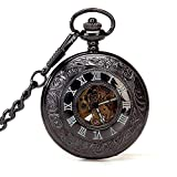CFSAFAA POCKET WATCH Pocket Watch, Men's Pocket Watch, Steam Punk Classic Black Roman Numerals Pocket Watch Chain A watch suitable for carrying in a pocket