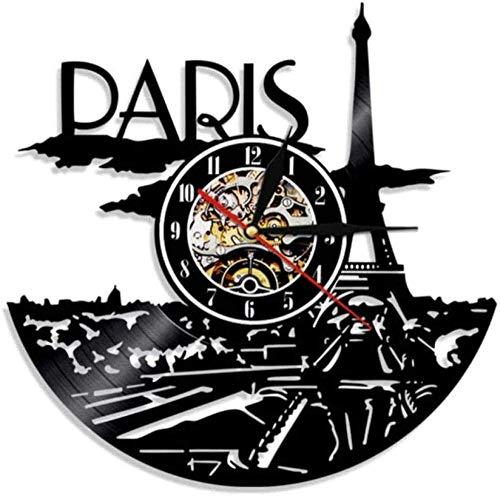 Gymqian Reloj de Pared París Reloj de Vinilo Grano Paris Line Decoración de la Pared París Torre Dormitorio Decoración de París Reloj de Pared Francia S Travel Regalo para Ella Cre