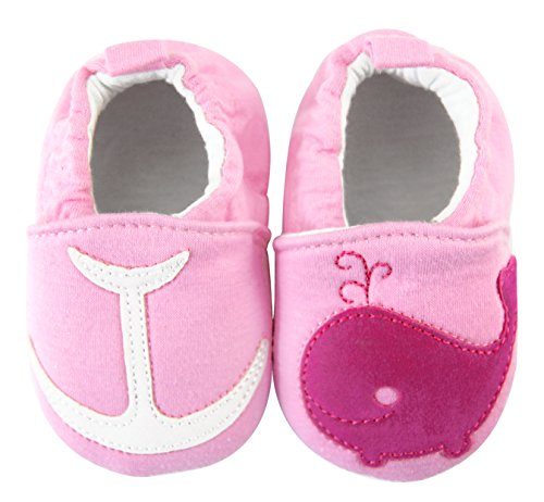axy bébé Tissu Rose Tapis D'éveil Chaussures Chaussures bébé 0 à 12 Mois – Baleines - Rose - Rose Bonbon,