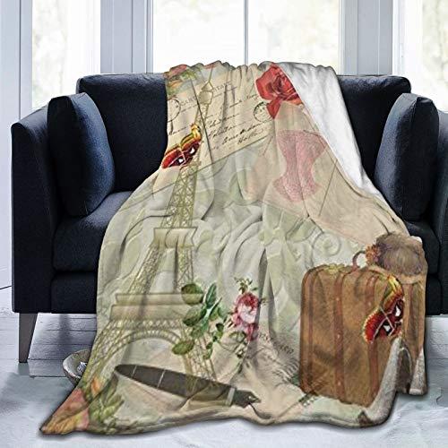 QIUTIANXIU Mantas para Sofás de Franela 150x200cm Retro Paris Torre Eiffel Maleta Tacones Altos Flor Mariposa Mujer Dama Manta para Cama Extra Suave