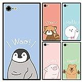 スマホケース スクエア ガラス 四角 アニマル 動物 ペンギンのヒナ iphone6 iphone6s