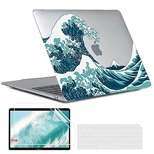 MUSHUI 4 en 1 Coque pour MacBook Air 13 Pouces 2020 2019 2018 A1932 A2179 A2337 M1 Touch ID, étui pour Ordinateur Portable en Plastique Durable avec Couvercle de Clavier et Protecteur d'écran, Vagues