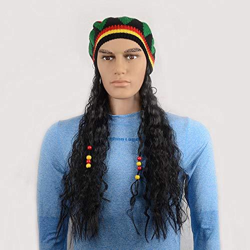 XTHY Parrucca da uomo Capelli Corti Scompigliati E Arruffati, Giovanile, Alla Moda Parrucca maschio Parrucca lavorata a maglia parrucca con cappello caldo nero riccio medio lungo
