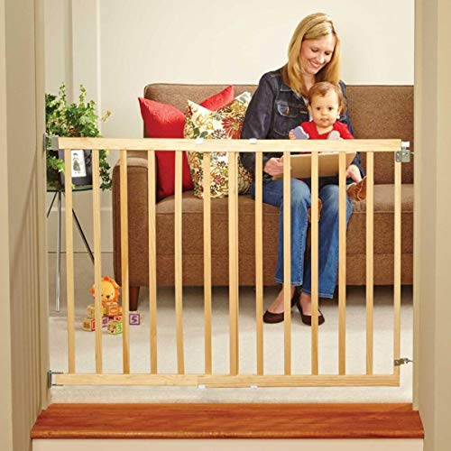 North States 42' Wide Stairway Swing Baby Gate: Ideal for Standard stairways. Fitted with Swing Control Hinge & one-Hand Operation. Hardware Mount. Fits 28'-42' Wide (30' Tall, Sustainable Hardwood)