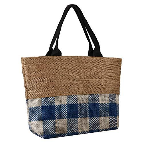 INSOUR Groß Stroh Handtaschen, Weben Schulter Sommer Strand Tasche Tote Tasche für Damen (Kaffee)