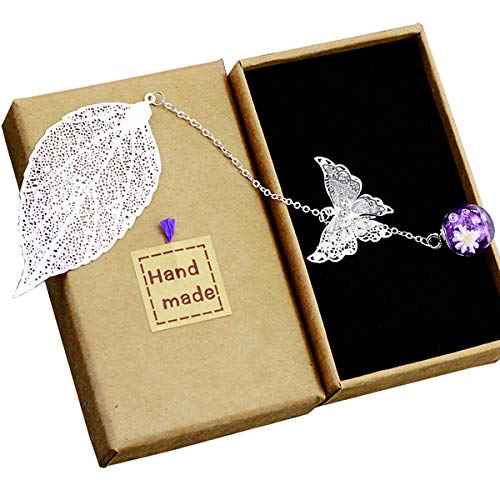 Toirxarn Metal Leaf Bookmark,with 3D Butterfly and Glass Beads Eternal Dry Flower Pendant. Ideal Gift for Reader, Woman and Kids.(Silver Leaf Purple Ball)