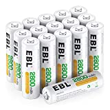 EBL 単3形充電池 充電式ニッケル水素電池 高容量2800mAh 16本入り ケース4個付き 約1200回使用可能 単三充電池