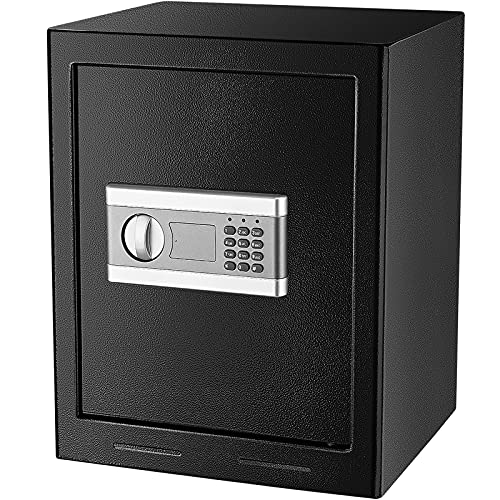 1.53Cub Security Safe Lock Box, Security Home Safe with Digital Keypad, Fireproof & Waterproof Coated Safe, Gun Document Safe Box for Home Office Hotel Business with Emergency Key (1.53Cubic)