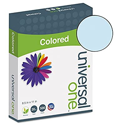 Universal Colored Paper, 20Lb, 8-1/2 X 11, Blue, 500 Sheets/Ream
