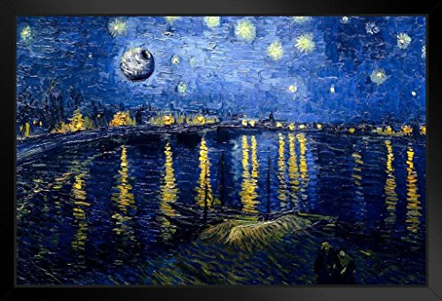 Death Star Starry Night Over The Rhone Van Gogh Art Humor Black Wood Framed Poster 14x20