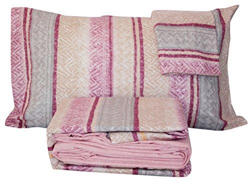 Flanella 100% di puro cotone Completo letto MATRIMONIALE due 2 piazze lenzuola sopra + lenzuolo sotto con angoli + 2 federe BASSETTI TIME (WOOLY ROSA)