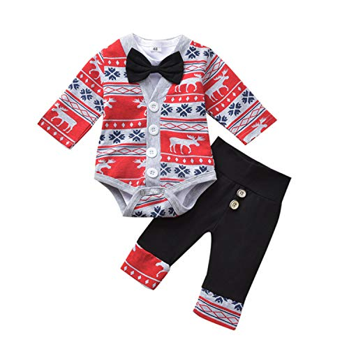 Kissybaby Baby Boys Outfits, Preemie Newborn Gentlemen Bodysuit Onesies Little Jacket Pants Winter Christmas Clothes 3Pcs (Gray, 9-12 Months)