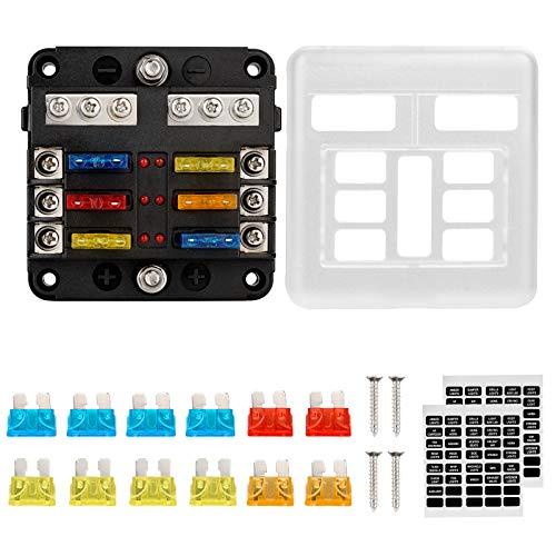 Thlevel 6 Vie Scatola Portafusibili con W/Negative, Blocco Fusibili Lama ATC/ATO con Indicatore LED e Coperchio Protettivo, per Auto, Barca, Camion, Furgone, SUV, etc