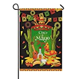 oFloral Cinco De Mayo Garden Flag Festive Fiesta Party Traditional Mexican Holiday Double Sided Garden Outdoor Yard Flags for Fall Decor 12.5 x 18 inch