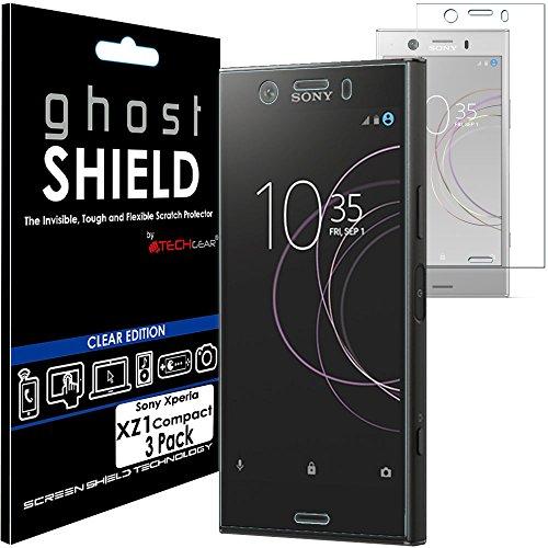 TECHGEAR [3 Pezzi Pellicola Protettiva Compatibile con Sony Xperia XZ1 Compact [Edizione ghostSHIELD] Proteggi Schermo Rainforzata Flessibile TPU Pellicola per Schermo Intero Incluso Schermo Curvo
