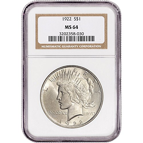 1922 US Peace Silver Dollar Non Edge-View Holder $1 MS64 NGC